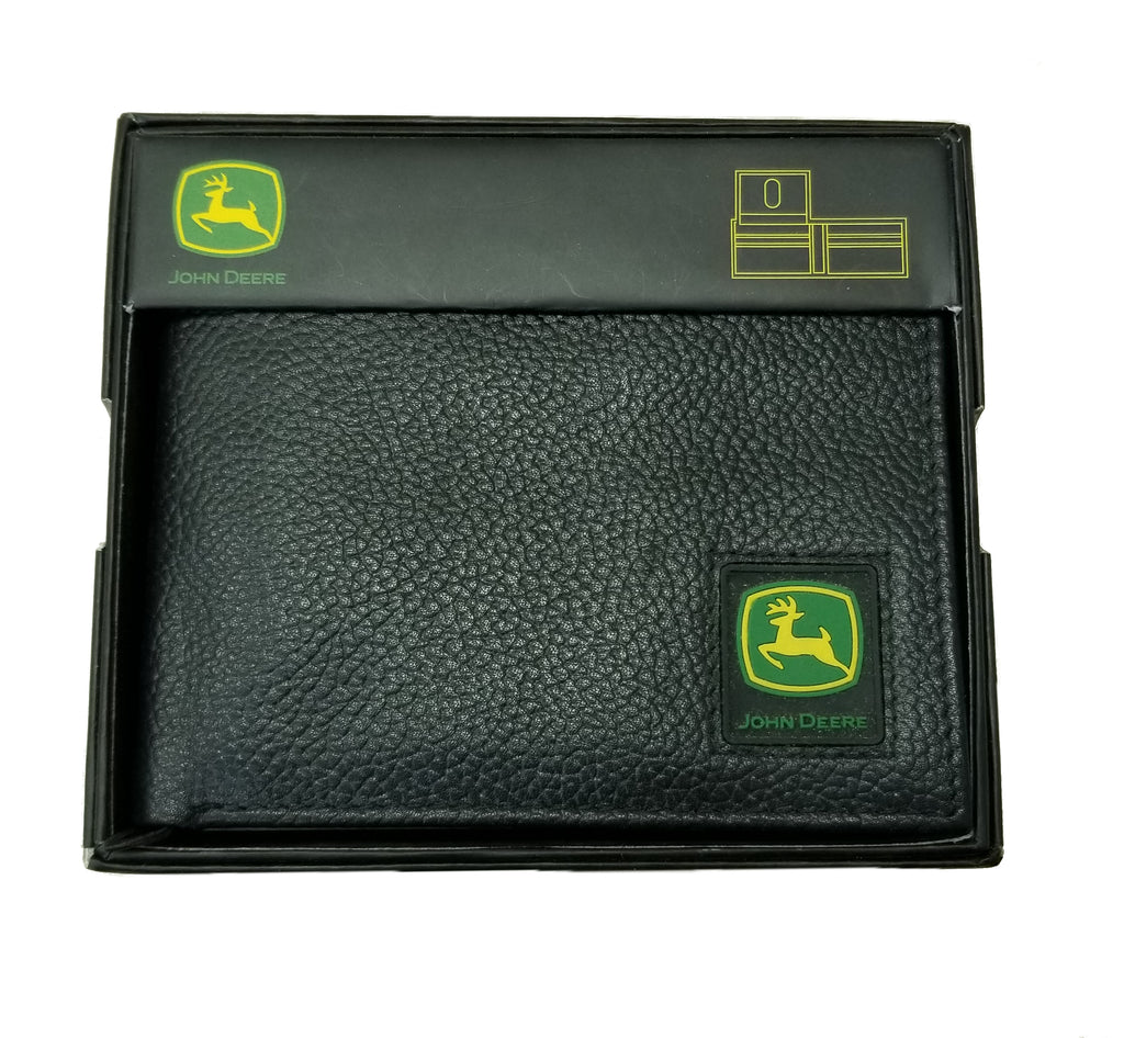 John Deere Men's Black Bi-fold Wallet w/Logo Patch - LP12270