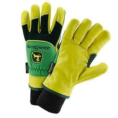 Mens John Deere Leather Driver Gloves with Thinsulate (SIZE LARGE) - LP47727
