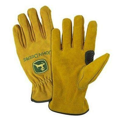 Mens John Deere Split Cowhide Leather Drivers Gloves (Large)