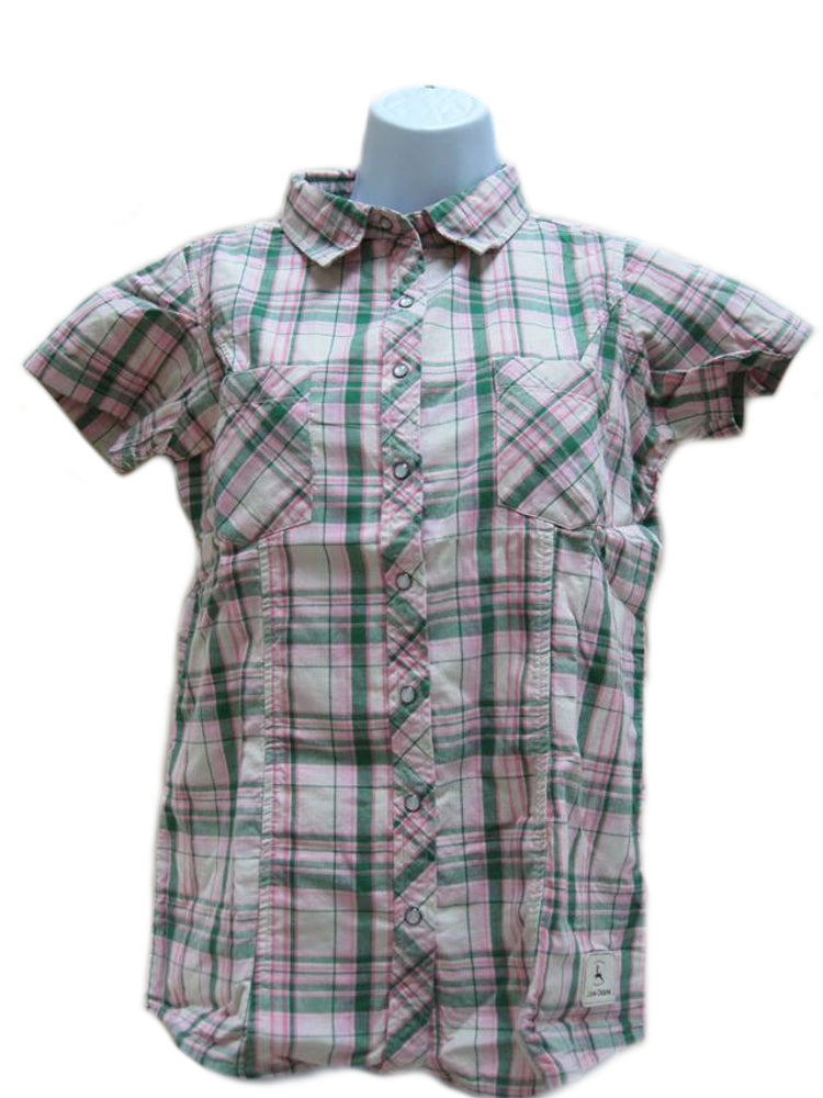 Ladies John Deere Western Plaid Short Sleeve Shirt (Pink / Green Plaid)(SMALL) - LP48254