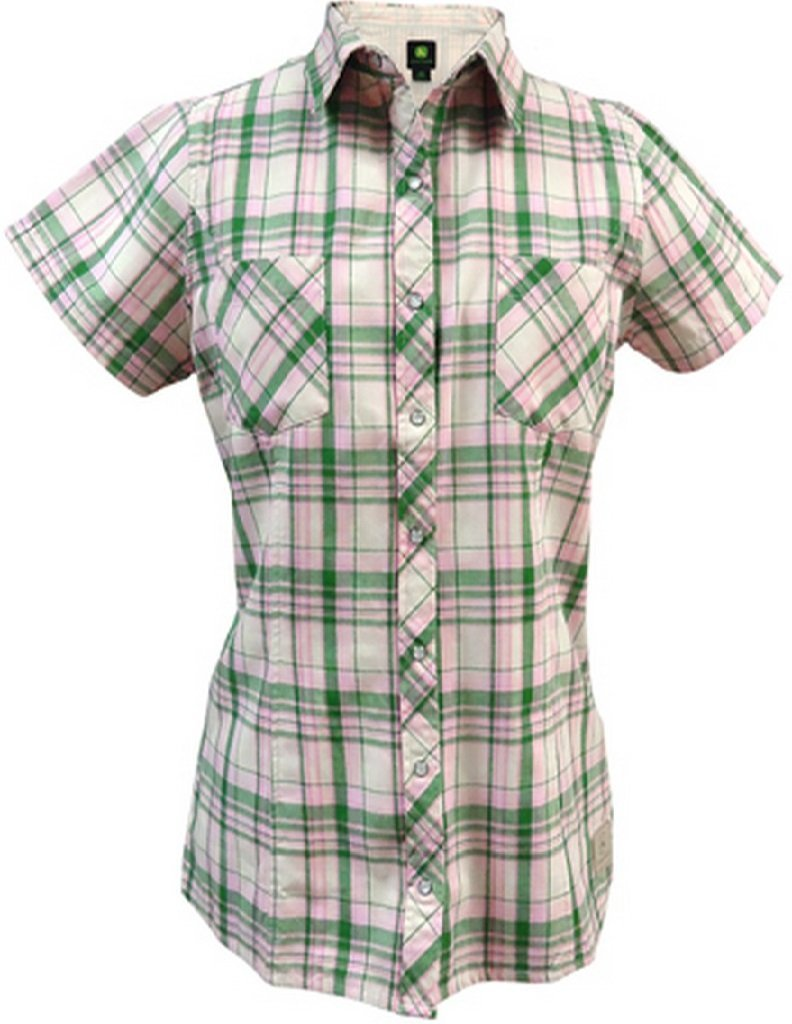 Ladies John Deere Western Plaid Short Sleeve Shirt (Pink / Green Plaid)(2XL) - LP48257