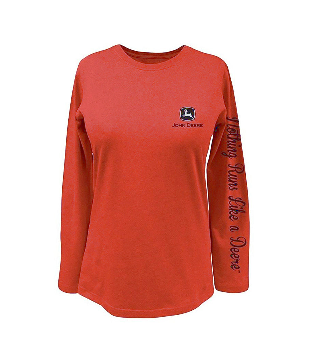 Ladies John Deere Long Sleeve T-Shirt (Coral)