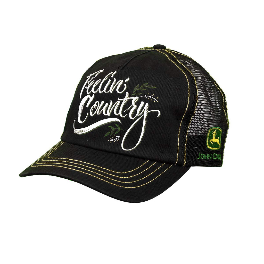 John Deere 5 Panel Cap Twill & Mesh, Unstruct-Black-Os