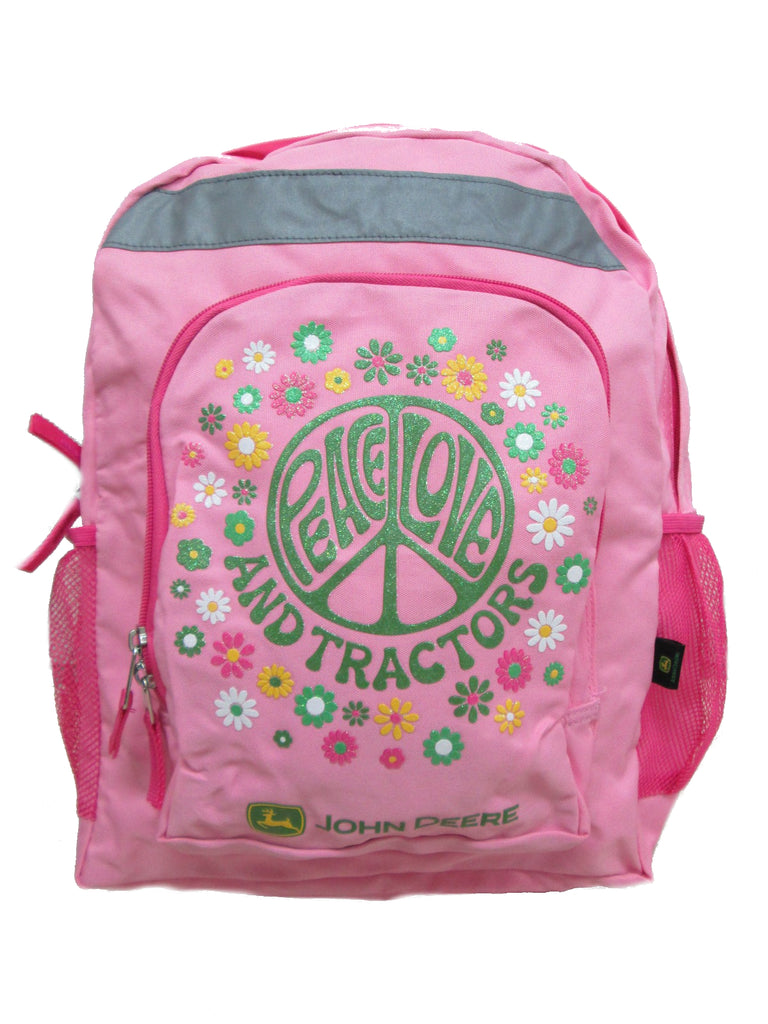 "John Deere ""Peace, Love and Tractors"" Backpack / Book Bag (Pink) - LP42816"