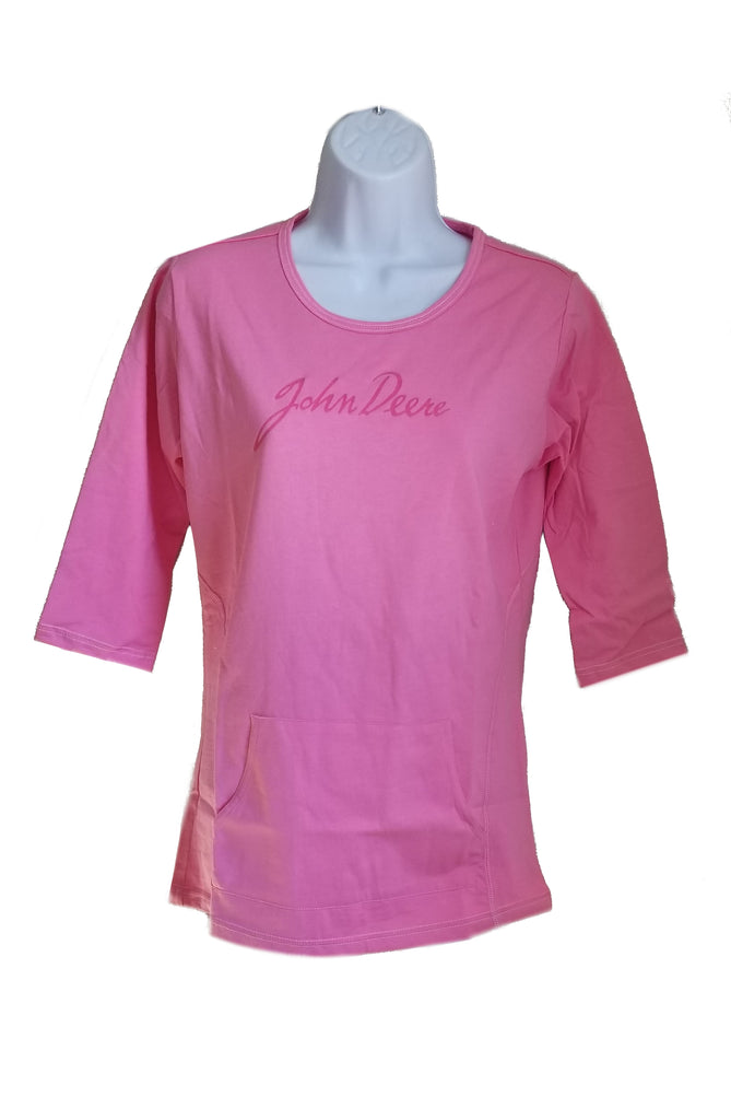 Ladies John Deere Signature 3/4 Sleeve Shirt (Pink)(Small) - D1717S