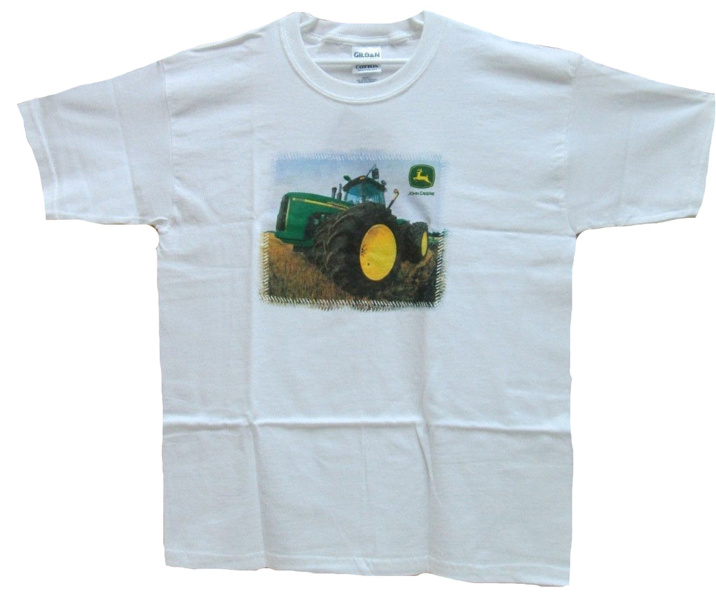 Youth John Deere White Tractor T-Shirt (X-Large) - TUB28 - 77427 (XL)