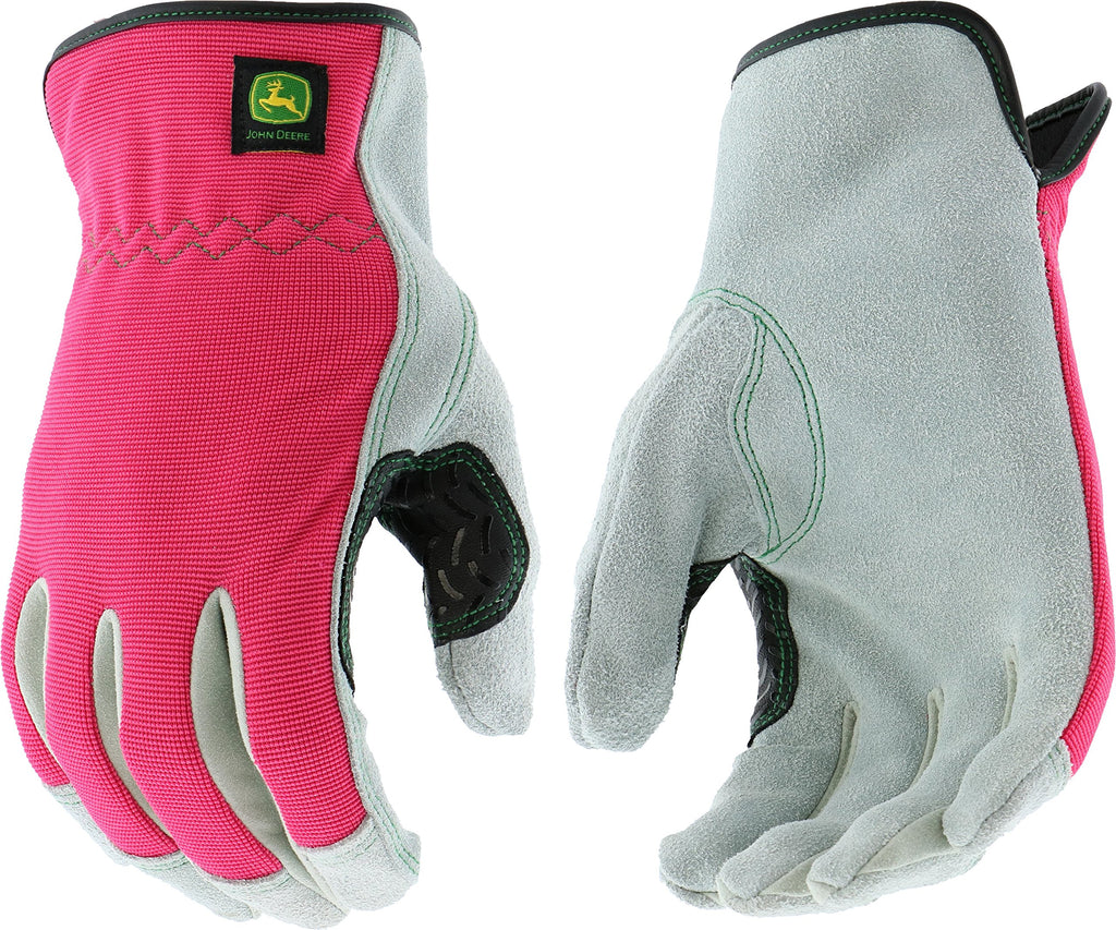 Ladies John Deere Cowhide Gloves with Spandex Back (Pink)(Large) - LP42423
