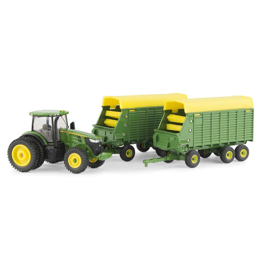 John Deere 1/64 7290R with Forage Wagons Toy - LP70546
