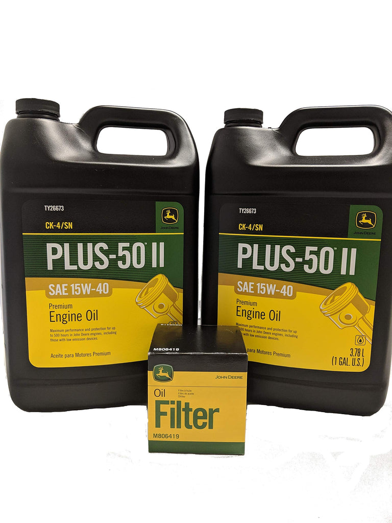 John Deere Original Equipment Oil Change Kit Filter and Oil - (1) M806419 + (2) Gallons 15W-40