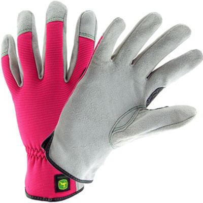 Ladies John Deere Cowhide Gloves with Spandex Back (Pink) - LP42422