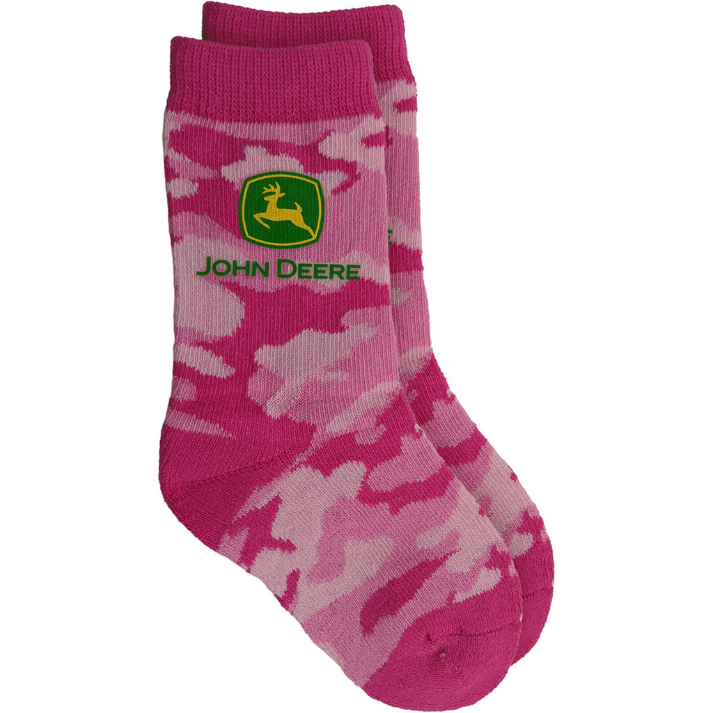 John Deere Youth Pink Camo Crew Socks (Size 4-6) - LP64400