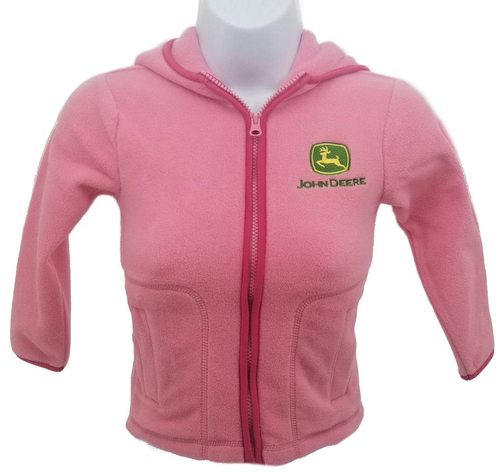 Youth Girls John Deere Microfleece Hooded Jacket (Pink)(Small 4) - LP44420