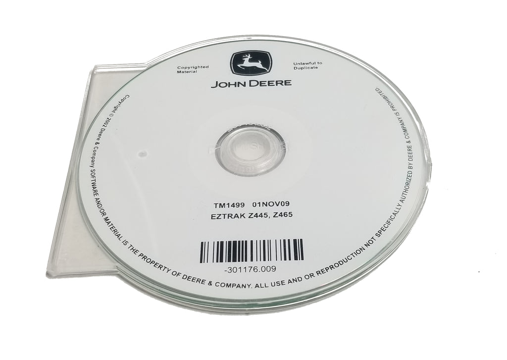John Deere Z445/Z465 EZTrak Mowers Technical CD Manual - TM1499CD