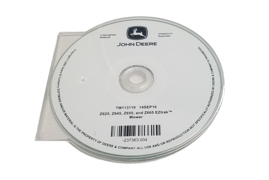 John Deere Z625/Z645/Z655/Z665 EZTrak Mowers Technical CD Manual - TM113119CD
