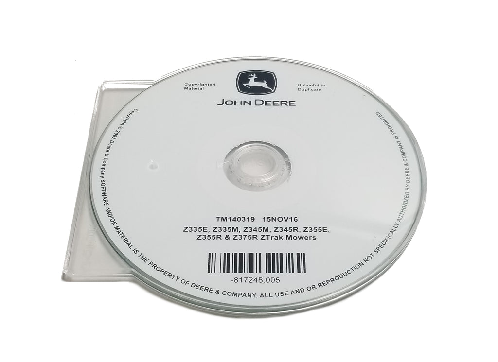 John Deere Z335E/Z335M/Z345M/Z345R/Z355E/Z355R/Z375R ZTrak Mowers Technical CD Manual - TM140319CD