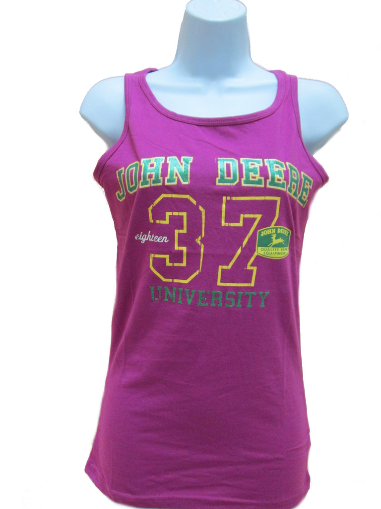 Ladies John Deere '37 Glitter Tank Top (Fuschia)(SMALL) - LP48197