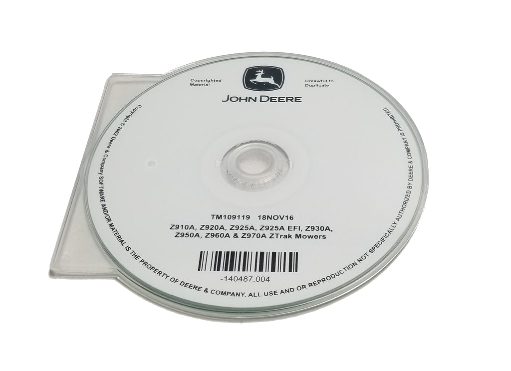 John Deere Z910A/Z920A/Z925A/Z925A EFI/Z930A/Z950A/Z960A/Z970A ZTrak Mowers Technical CD Manual - TM109119CD