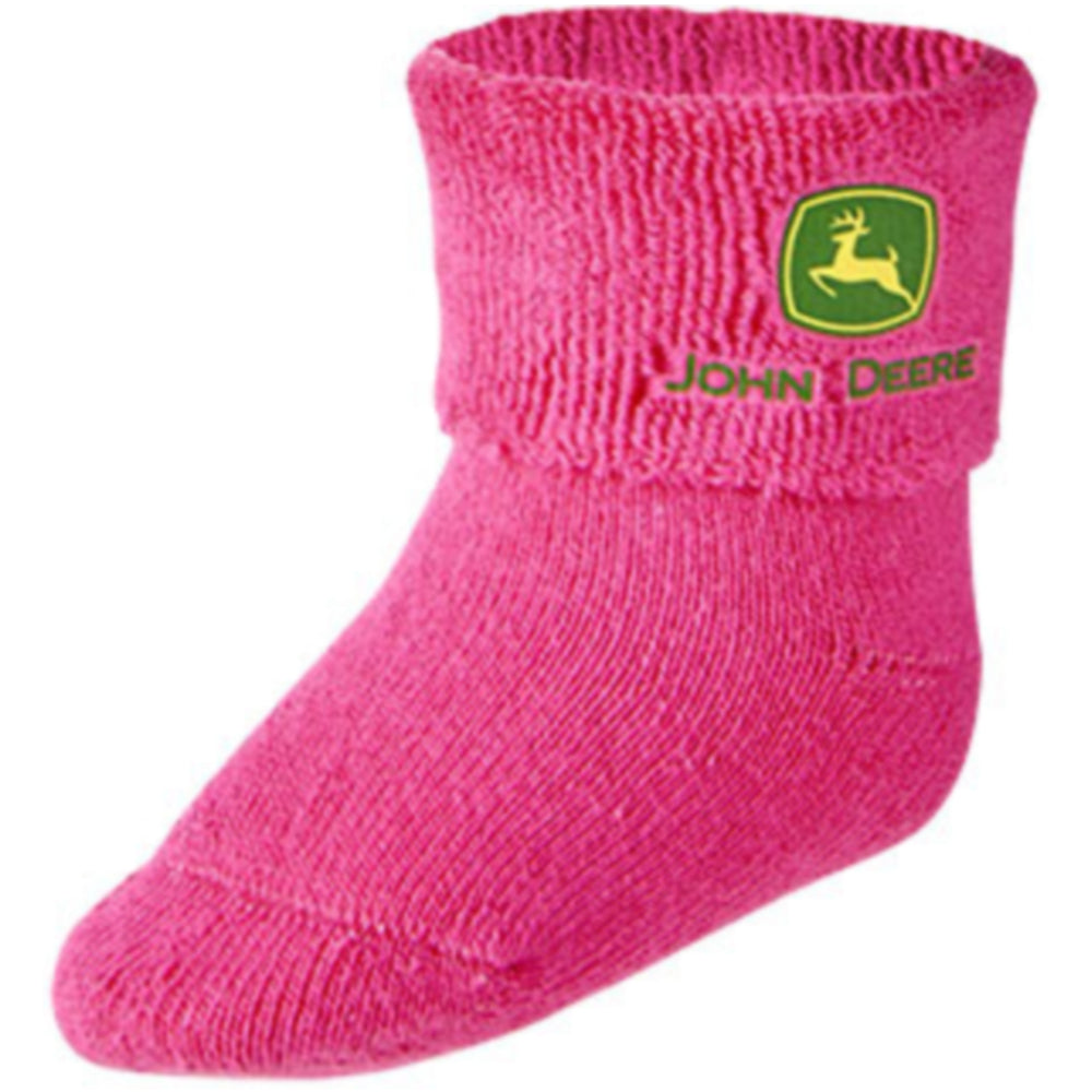 Infant John Deere Pink Terry Cloth Booties / Socks (0-6M) - LP64379