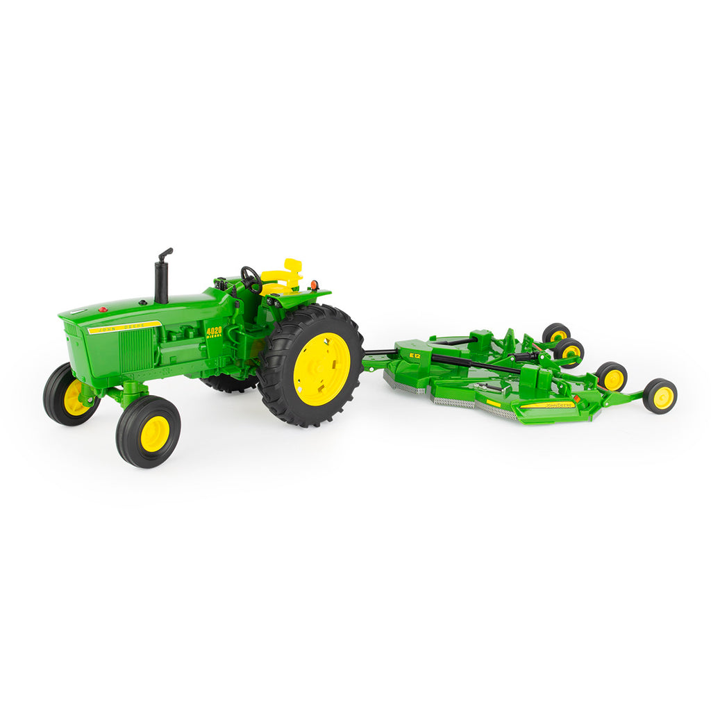 1/16 John Deere Tomy Big Farm 4020 Tractor & E12 Rotary Cutter Toy - LP75985