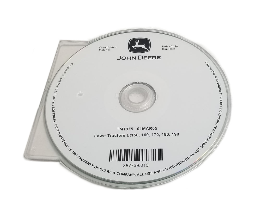 John Deere LT150/LT160/LT170/LT180/LT190 Lawn Tractors Technical CD Manual - TM1975CD