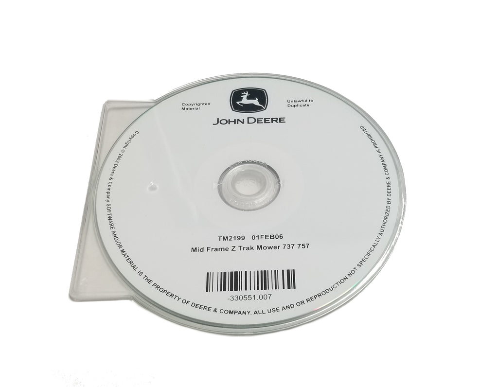 John Deere 737/757 Mid-Mount Z-Trak Mower Technical CD Manual - TM2199CD