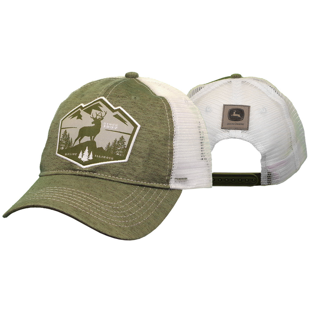 John Deere Men's White Deere Patch Cap/Hat - LP70315