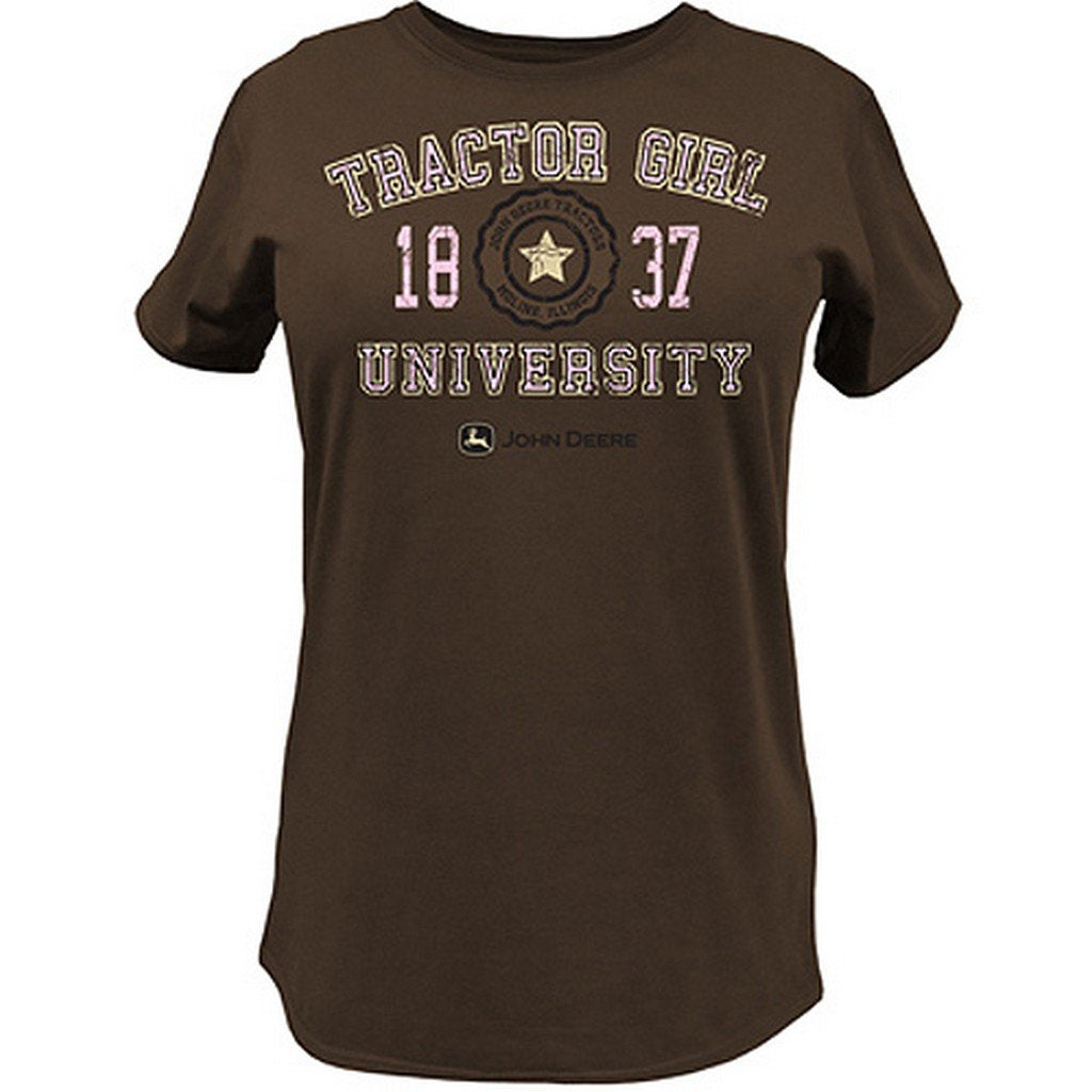 "Ladies John Deere ""Tractor Girl University"" Short Sleeve T-Shirt (Brown)(Medium) - LP47357"