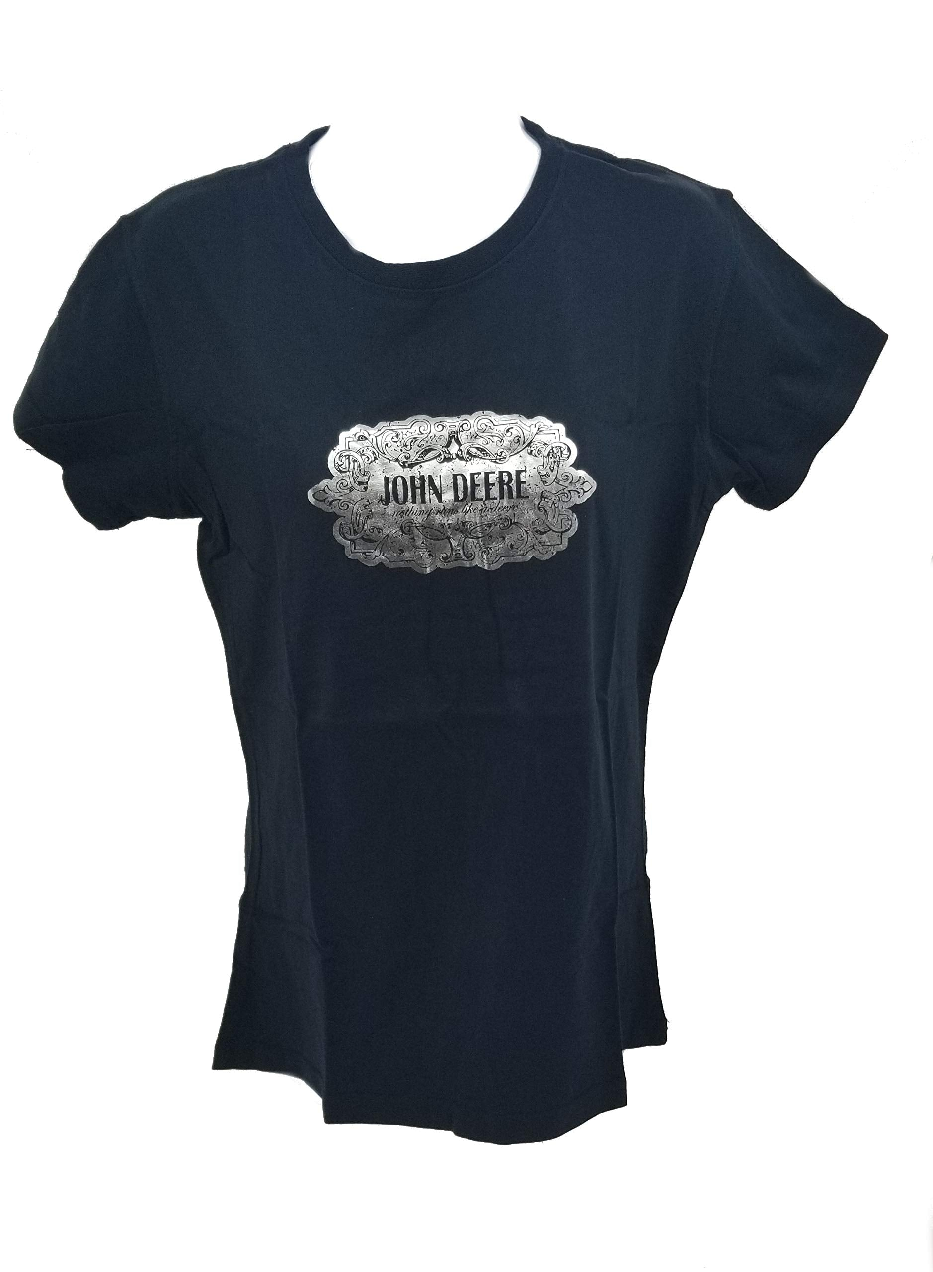 Ladies John Deere Black with Silver Foil T-Shirt (Medium) - 23005131