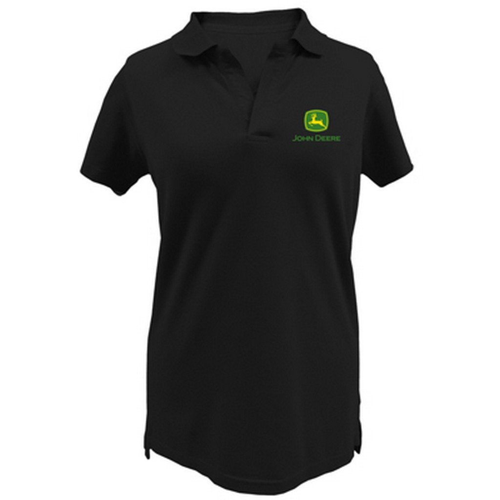 Ladies John Deere Polo Shirt - Lightweight (Black)(2X) - LP47404
