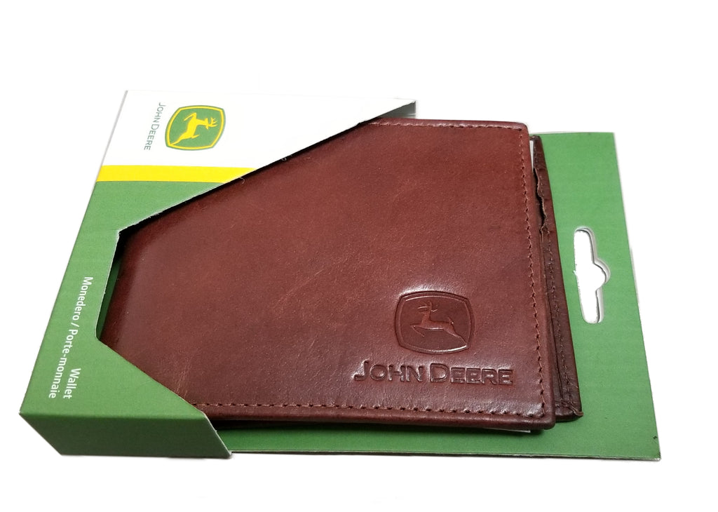 John Deere Crunch Leather Bi-fold (Brown) Wallet - LP70603