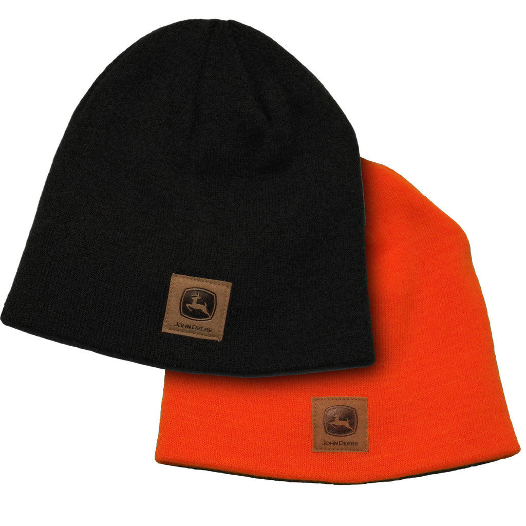 John Deere Men's 2 Pack Skull Beanie (Black/Orange) - LP73007
