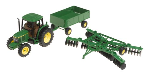 Ertl John Deere 6410 Tractor With Barge Wagon And Disk, 1:32 Scale