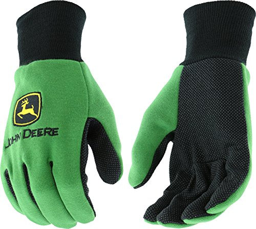 Mens John Deere Light Duty Cotton Grip Gloves (Green) - LP42385