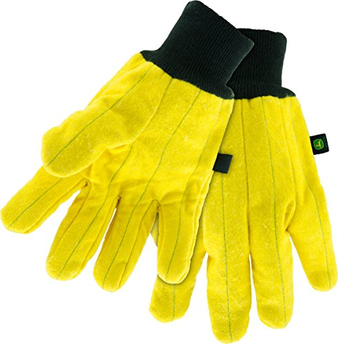 Mens John Deere Heavy Duty Chore Gloves (Yellow)(XL) - LP47684
