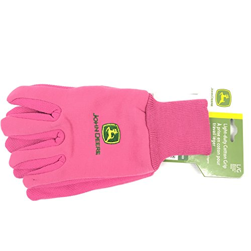 Ladies John Deere Light Duty Knit Gloves with Grippers (Pink) - LP42387