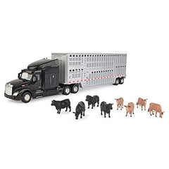 1/32 Scale Peterbilt Model 579 w/ Livestock Trailer & Cattle - LP67439