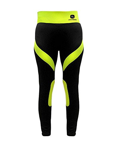 Ladies John Deere Athletic Pants (Black/Neon Yellow)