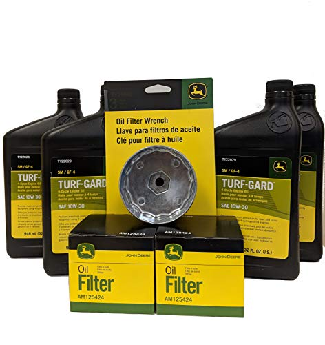 John Deere Double Oil Change Kit Including Oil Filter Wrench - (4) TY22029 + (2) AM125424 +TY26640