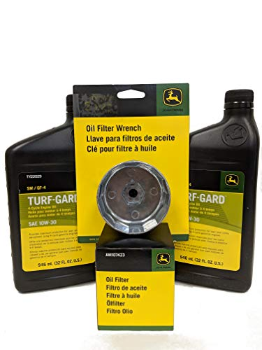 John Deere Original Equipment Oil Change Kit, Includes Wrench - (2) TY22029 + AM107423 + TY26639