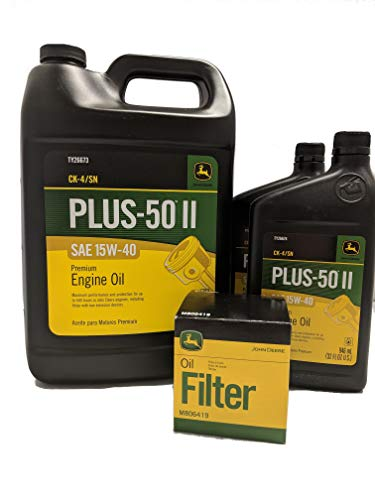 John Deere Original Equipment Oil Change Kit Filter and Oil - (1) M806419 + (6) Quarts 15W-40