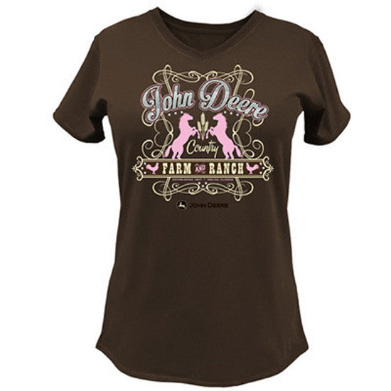 Ladies John Deere Farm and Ranch T-Shirt (Brown)