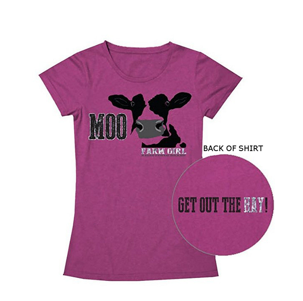 "Ladies Farm Girl Brand ""Moo...Get out the hay!"" T-Shirt (Pink) - F22007278"