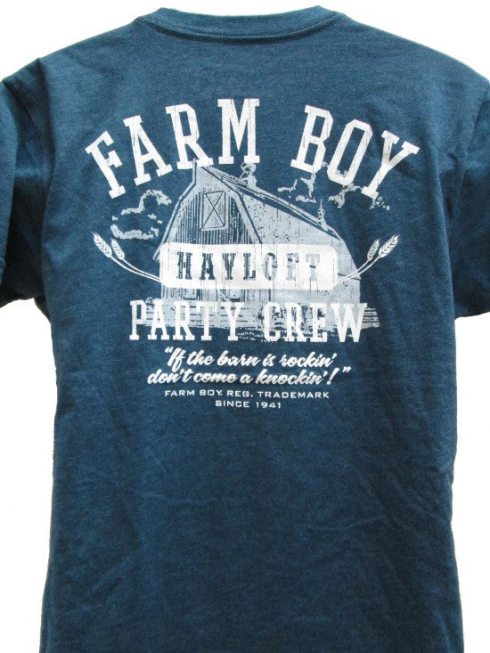 Men's Farm Boy Hayloft Party Crew T-Shirt (Navy) - F13003157