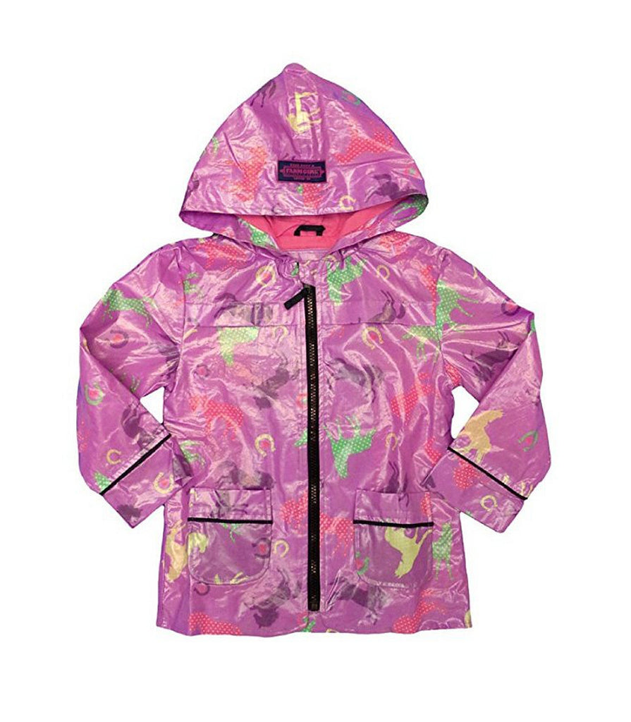 Toddler Rain Coat with Horses by Farm Girl (Purple) - F61198021