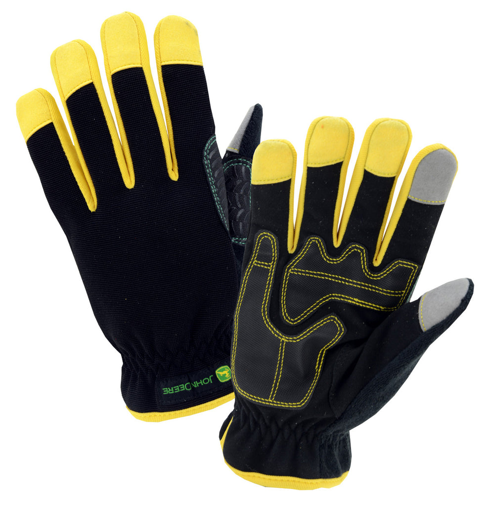 Men's John Deere Touchscreen Gloves (Black/Yellow)