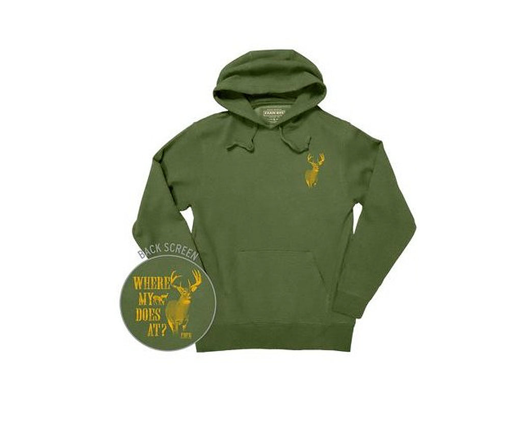 "Men's Farm Boy ""Where my Does At?"" Hoodie (Olive) - F13023265"