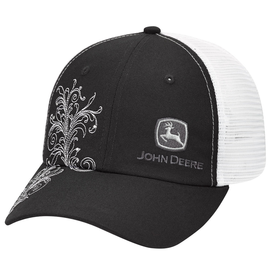 cedba114f81 ... John Deere Authentic Licensed Black and White Mesh with White Scrolling  - LP69131