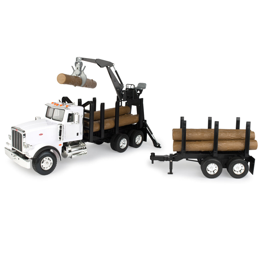 1/16 Big Farm Peterbilt Model 367 Log Truck with Pup Trailer and Logs - LP68215