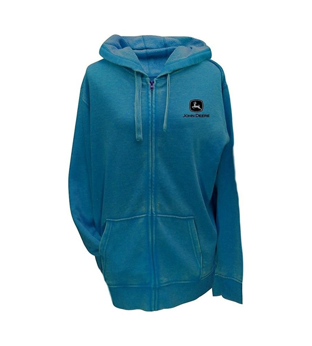 "Ladies ""Small Town John Deere Girl at Heart"" Full Zip Hoodie (Turquoise)"