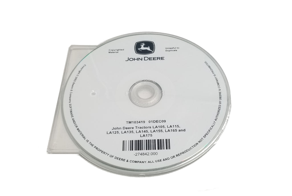 John Deere LA105/LA115/LA125/LA135/LA145/LA155/LA165/LA175 Tractors Technical CD Manual - TM103419CD